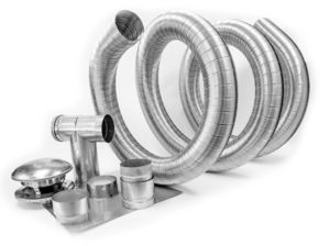 Photo of a flexible stainless steel chimney liner kit. Attaches to a woodstove or an oil-fueled or wood-burning furnace.