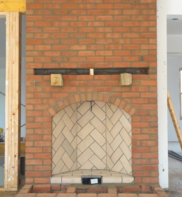 Photo of a newly constructed Rumford fireplace.