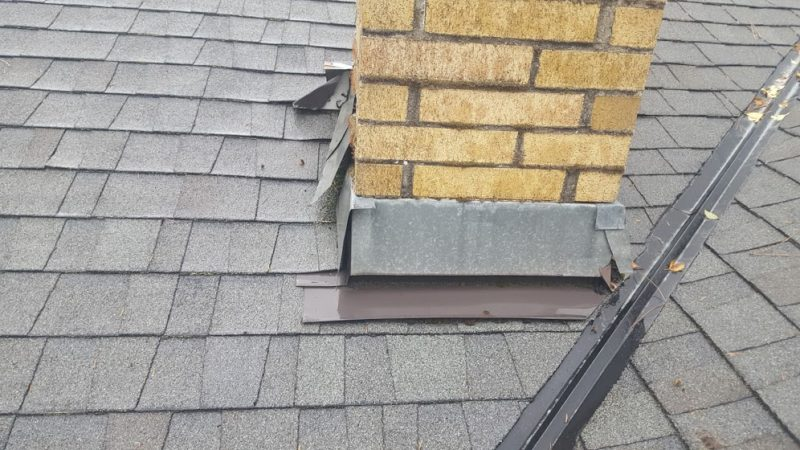 Chimney flashing that needs to be repaired.