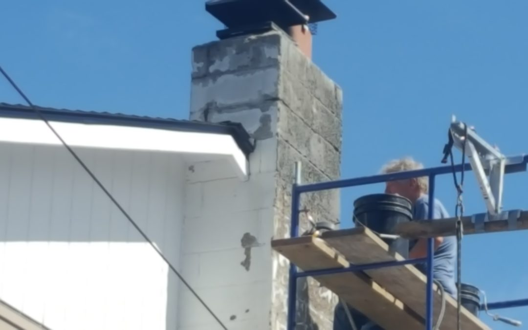 Repairing a damaged cinderblock chimney